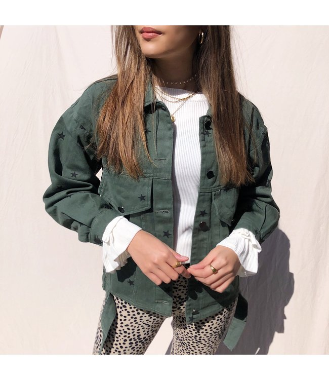 Nova Printed Star Jacket / Dark Green