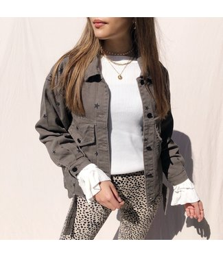Nova Printed Star Jacket / Warm Grey