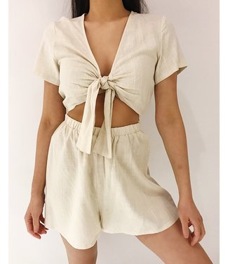 Arisa Linen Playsuit / Beige