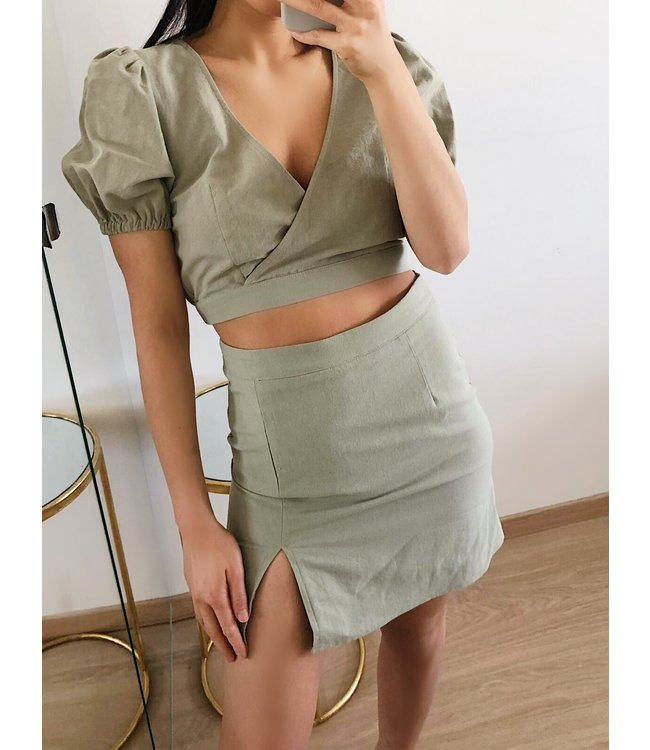 Verona Split Skirt / Army Green
