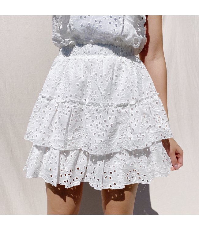 Nami Embroidered Skirt / White
