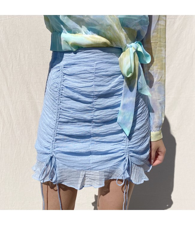 Lola Drawstring Mini Skirt / Blue