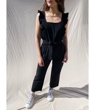 Zofia Ruffle Open Back Jumpsuit / Black