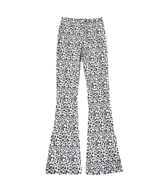 Nina Cheetah Flared Leggings / White