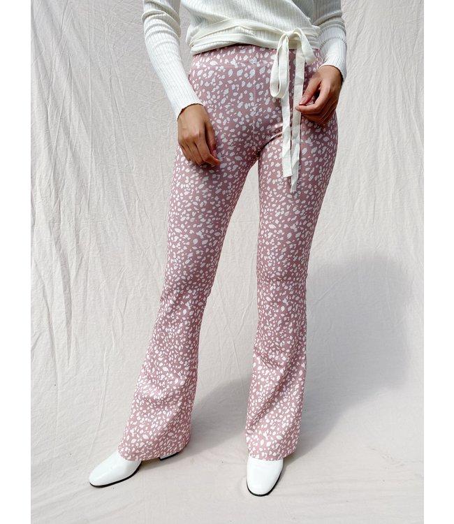 Nina Cheetah Flared Leggings / Dusty Pink