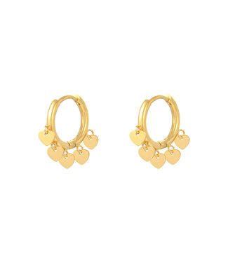 Gold Lovers Heart Earrings