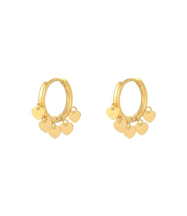 Gold Lovers Heart Earrings