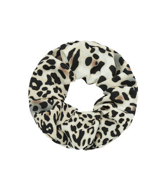 Cara Leopard Scrunchie / Grey
