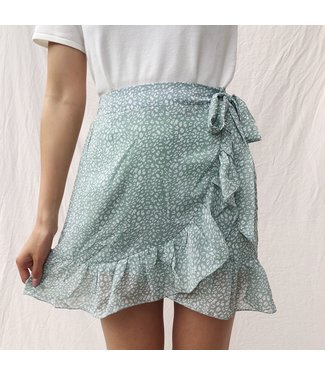 Raella Leopard Skirt / Light Green