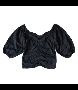 Majella Embroidered Top / Black