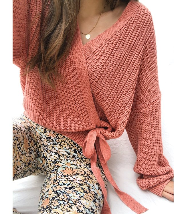 Laurie Wrap Cardigan / Dark Coral