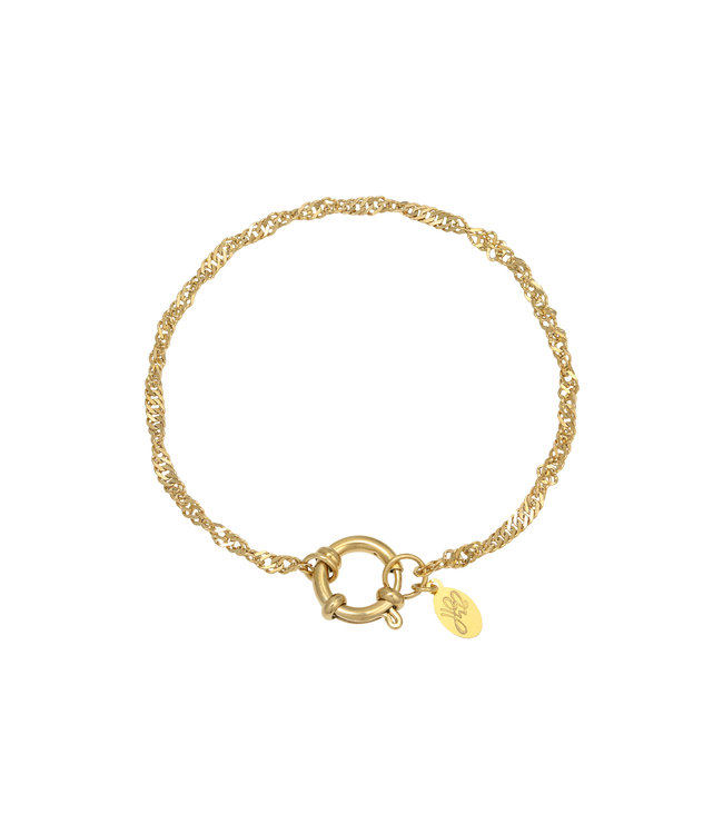 Gold Wave Chain Ring Bracelet