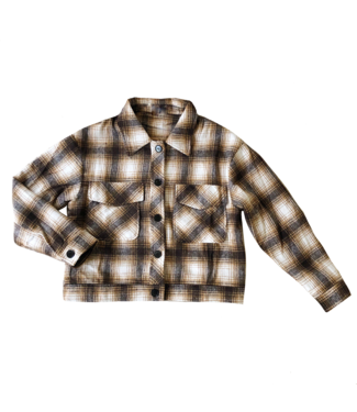 Lexie Checkered Crop Jacket / Brown