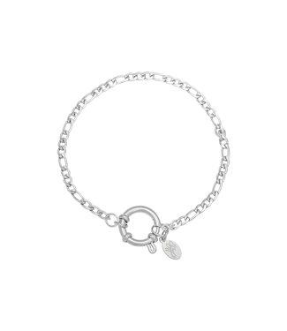Silver Figaro Chain Ring Bracelet