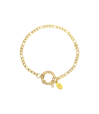 Gold Figaro Chain Ring Bracelet