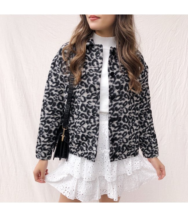 Phaedra Leopard Jacket / Black & Grey