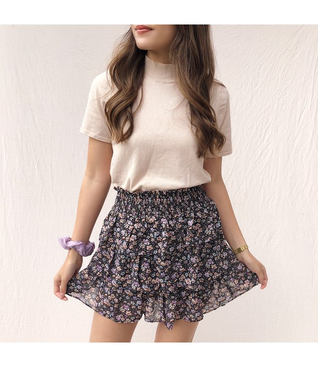 Lenthe Flower Skirt / Army & Purple