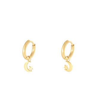 Gold Crescent Moon & Star Earrings