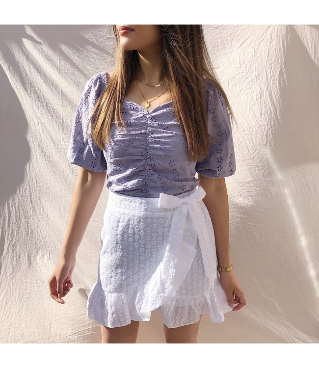 Viola Embroidered Skirt / White