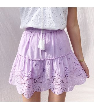 Yuna Embroidered Skirt / Lilac