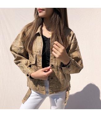 Freya Printed Snake Jacket / Brown