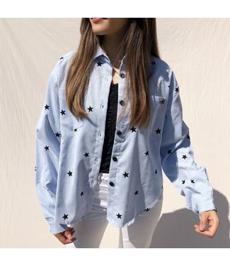 Nova Printed Star Blouse / Light Blue