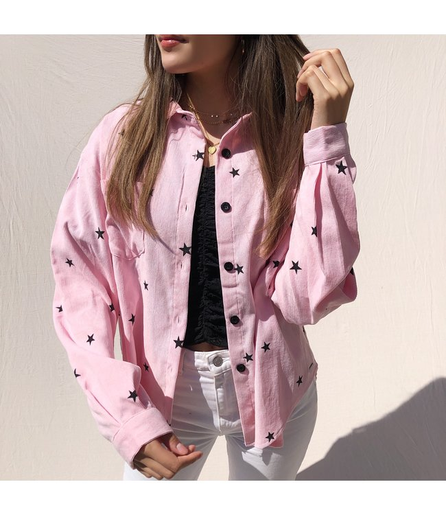 Nova Printed Star Blouse / Bubblegum Pink