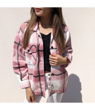Sammi Checkered Blouse Jacket / Pink