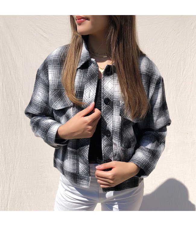 Lexie Checkered Crop Jacket / Grey