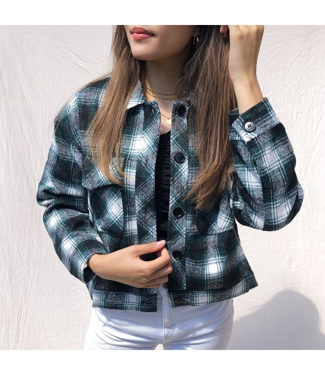 Lexie Checkered Crop Jacket / Green