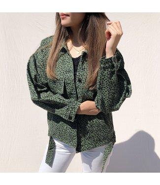 Alexis Printed Cheetah Jacket / Dark Green