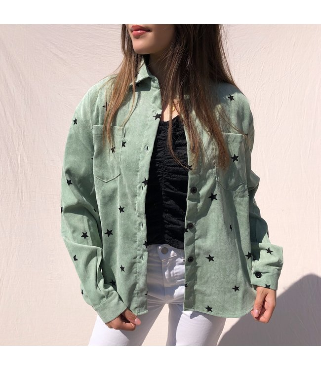 Nova Printed Star Blouse / Vintage Green