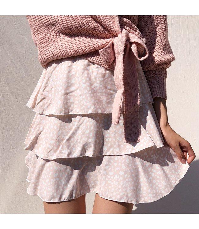 Suela Cheetah Skirt / Light Pink
