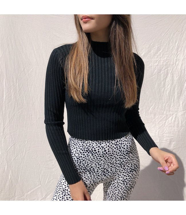 Mirai Ribbed Crop Top / Black