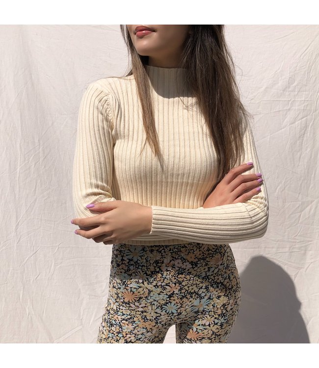 Mirai Ribbed Crop Top / Beige