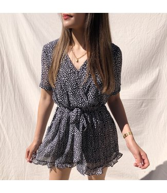 Xari Leopard Playsuit / Black