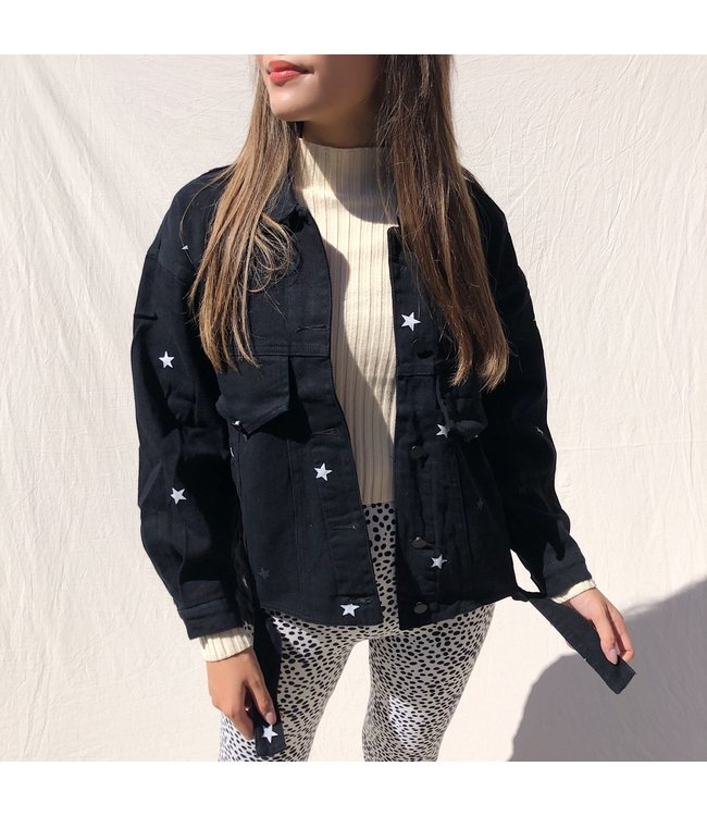 Nova Printed Star Jacket / Black, White & Grey