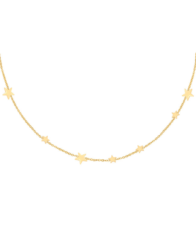 Gold Row Of Stars Necklace