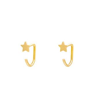 Gold Star Huggies Earrings