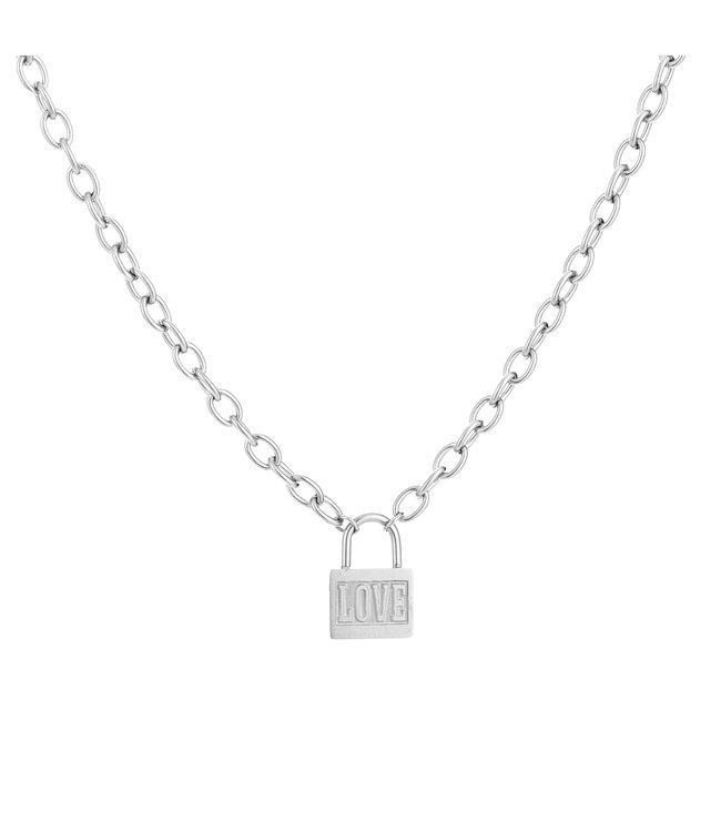 Silver Love Lock Necklace