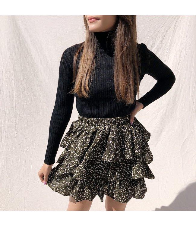 Izara Leopard Skirt / Army