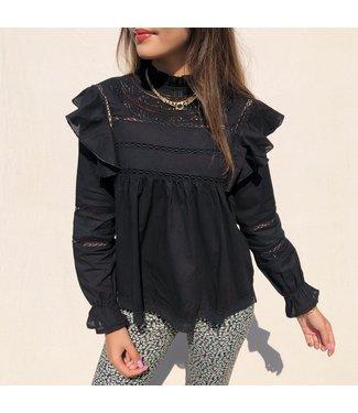 Yona Ruffle Blouse / Black