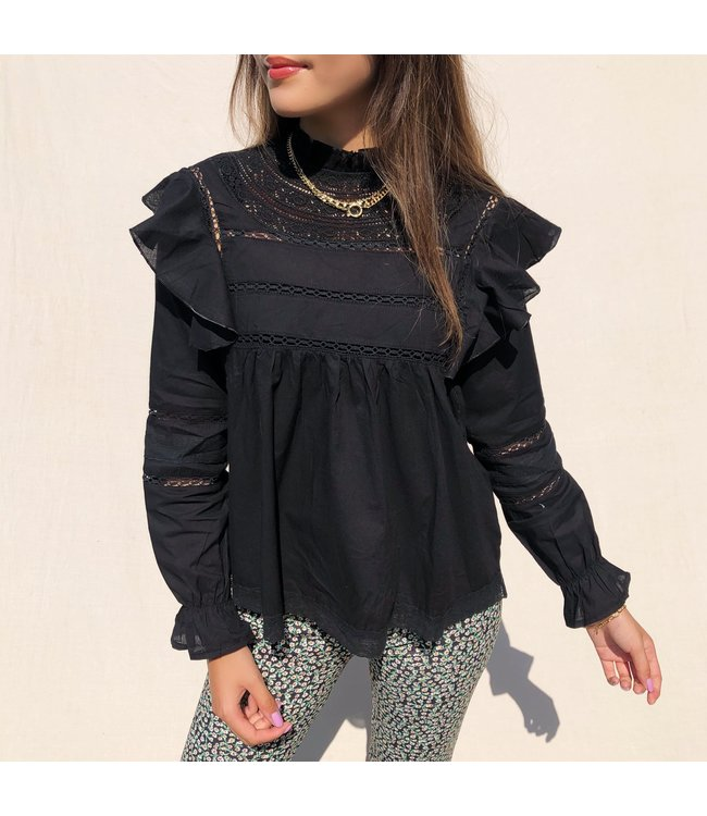 Yona Ruffle Blouse / Black