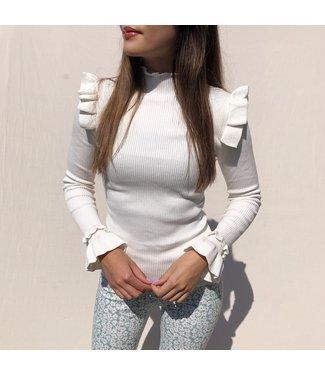 Marisa Ruffle Knit / White