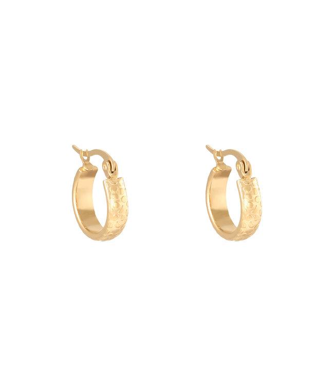 Gold Leo Print Hoop Earrings