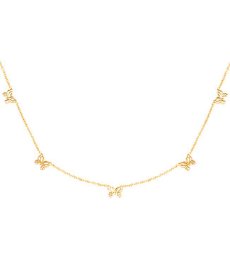 Gold Tiny Butterflies Necklace