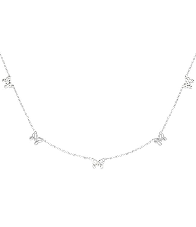 Silver Tiny Butterflies Necklace