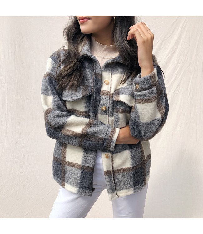 Sasha Checkered Wool Jacket / Grey