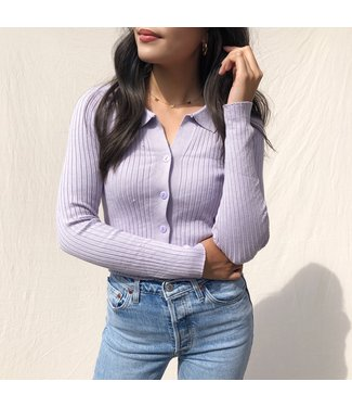 Kaisa Ribbed Buttoned Cardigan / Lilac