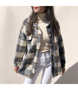 Rue Checkered Wool Jacket / Grey